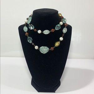 Aqua Blue Opera Necklace